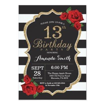 red rose 13th birthday invitation gold glitter