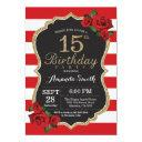 red rose 15th birthday invitations gold glitter