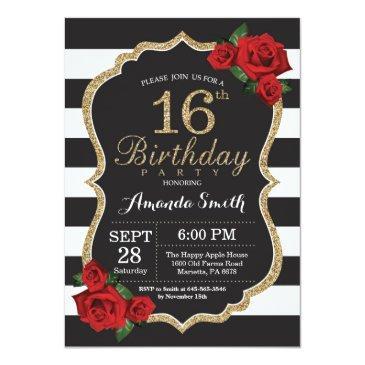 red rose 16th birthday invitations gold glitter
