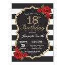 red rose 18th birthday invitation gold glitter