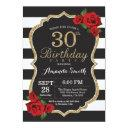 red rose 30th birthday invitations gold glitter