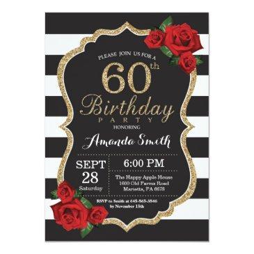 red rose 60th birthday invitation gold glitter
