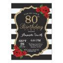 red rose 80th birthday invitations gold glitter