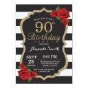 red rose 90th birthday invitations gold glitter