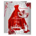 red silver dress masquerade quinceanera mask invitation