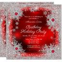 red silver snowflake holiday birthday party invitation