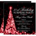 red surprise 21st birthday christmas lights invitations