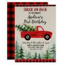 red truck on over birthday party invitation