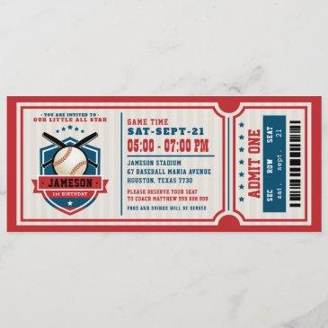 red vintage baseball ticket birthday invitation