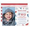 red white and two long distance 2nd birthday party invitation