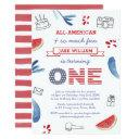 red white blue virtual 1st birthday party by mail invitation