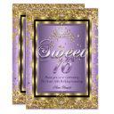 regal princess sweet 16 gold lavender purple party invitation