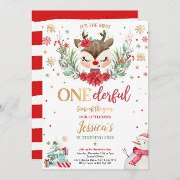 reindeer christmas 1st birthday red winter deer invitation