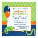 reptile polka dot kids birthday invitation