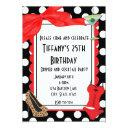 retro black polka dot party cocktail invitations