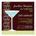 retro blue martini birthday party invitations