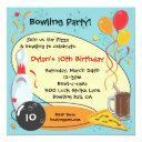 retro bowling birthday party invitations