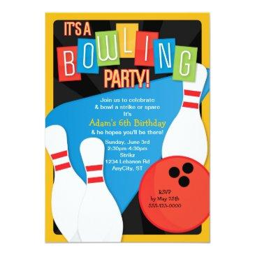 retro bowling kid's birthday party invitations