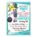 retro bowling party invitation - pink