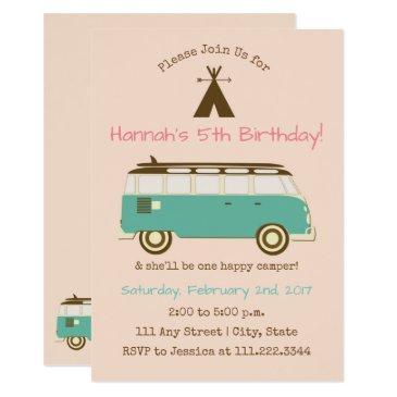 Retro Camping Birthday Invite Special Bday Invitations