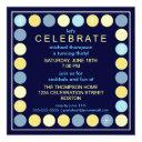 retro dots & stars birthday party invitation