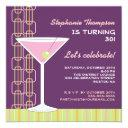 retro pink martini birthday party invitation