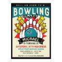 retro pop art bowling birthday party invitation