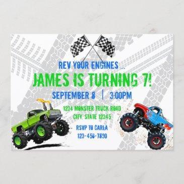 rev your engines monster truck birthday invitation