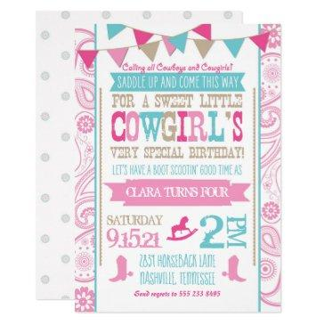 rhinestone cowgirl rodeo birthday party invitation