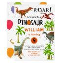 roar boys dinosaur birthday jungle party invitation