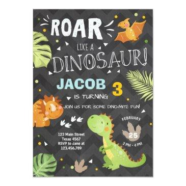 roar dinosaur birthday invitations dino party boy