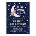 rocket moon birthday party invitations