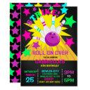 roll on over... strike bowling birthday party invitations