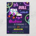 roller birthday invitation girl skating invitation