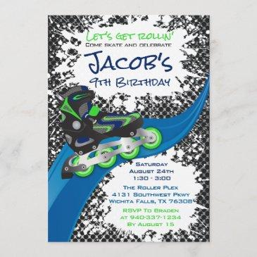 roller blade grunge green birthday party invitation