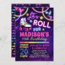 roller skating girls rainbow neon birthday party invitation
