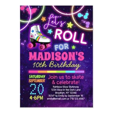 Small Roller Skating Girls Rainbow Neon Birthday Party Invitation Front View