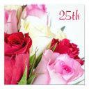 romantic bouquet of roses 25th birthday invitations