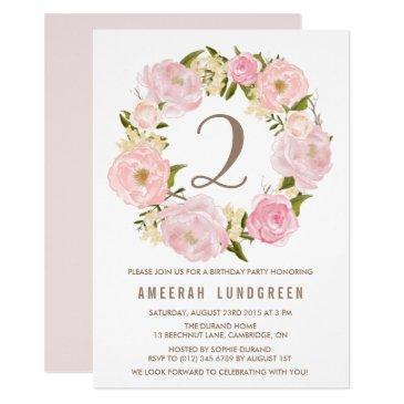 romantic pink peonies wreath birthday party invitations