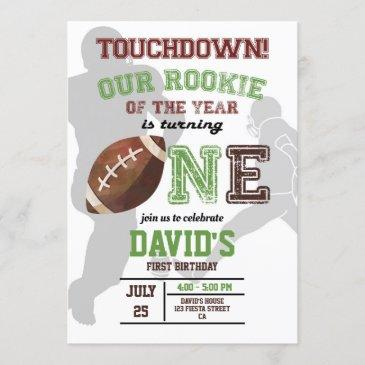 rookie of the year first birthday boy football invitation