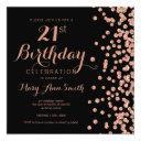 rose gold 21st birthday glitter confetti black invitations