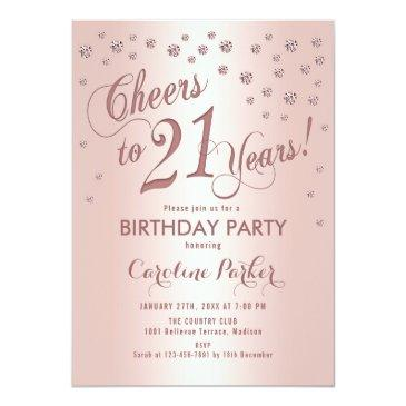 Small Rose Gold 21st Birthday Party Invitation Front View