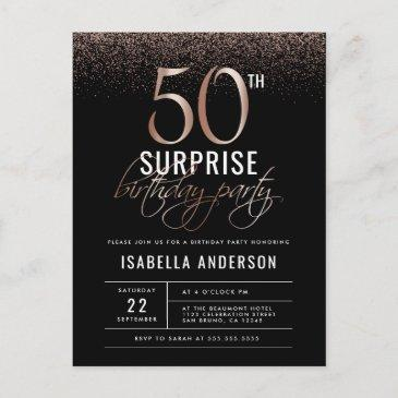 rose gold and black surprise 50th birthday party invitation postinvitations