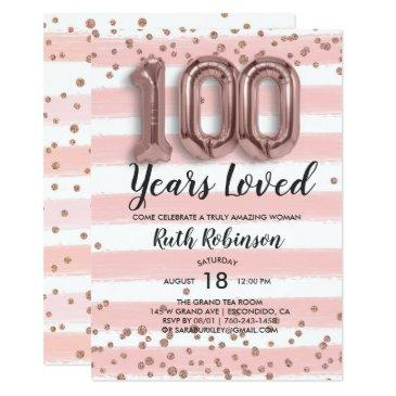 rose gold balloons | 100th birthday invitations
