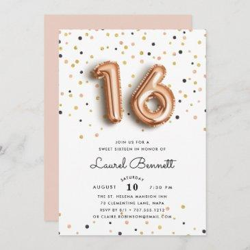 rose gold balloons | sweet 16 party invitation