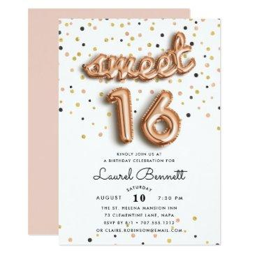 rose gold balloons | sweet 16 party invitations