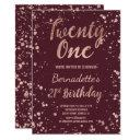rose gold confetti splatters burgundy 21 birthday invitations