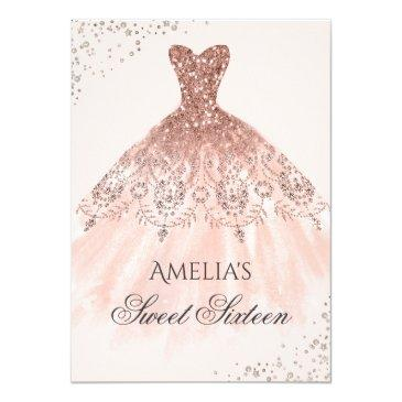 rose gold dress sparkle sweet sixteen invitation