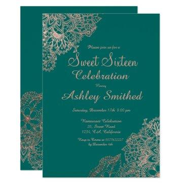 rose gold floral sweet 16 emerald green invitation