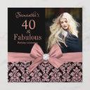 rose gold glitter damask 40th birthday invitation